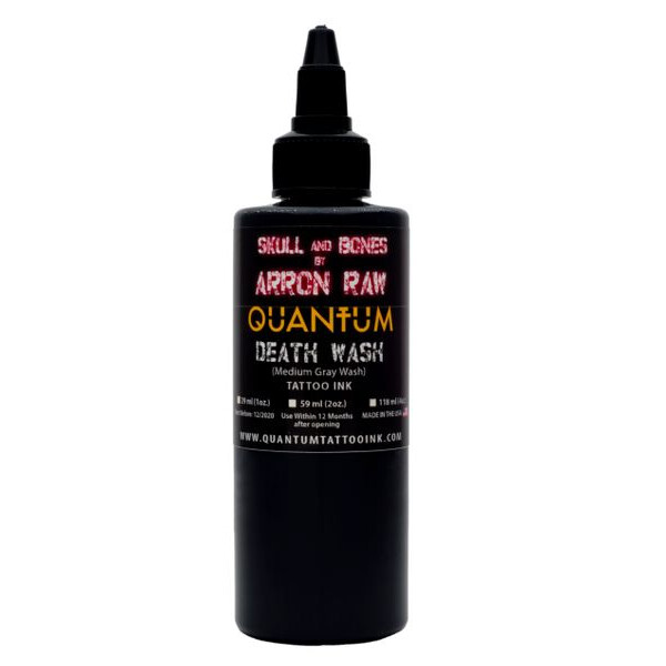 QUANTUM Tattoo Ink Arron Raw Death Wash Medium Grey Wash (Grauer Ton mit dem Hauch vom Weiß). 1 oz. (ca 30 ml)